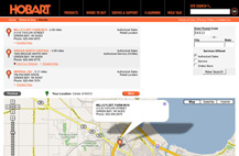 Screenshot of HobartWelders.com dealer locator