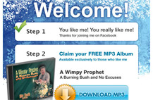Screenshot of Free CD Facebook promo