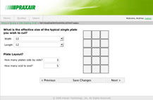Screenshot of Praxair Online Quotation System